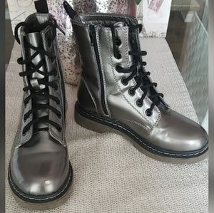 Shoes - Metallic Silver Leather Combat Boots - Shoes